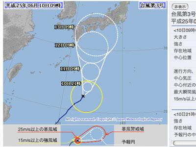 ヤギでハラハラ、台風三号接近中 – 南高梅生育状況